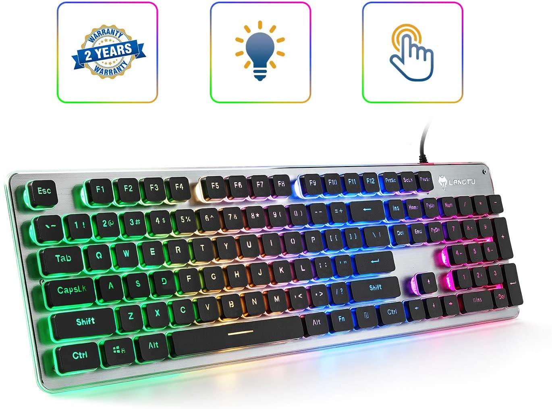 Membrane Keyboard Silver/Black SB-L1-01R Rainbow LED Backlit Anti-ghosting 24 Keys